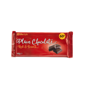 Lifestyle Dark Chocolate Block, 100g, PM 60p