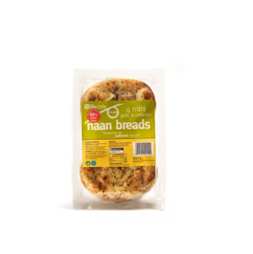 Lifestyle Mini Garlic & Coriander Nann Bread, 4 Pk, PM £1.09