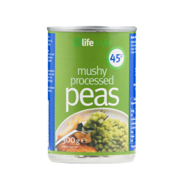 Lifestyle Mushy peas 300g, PM 45p