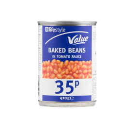 Lifestyle Value Baked beans, 400g, PM 35p