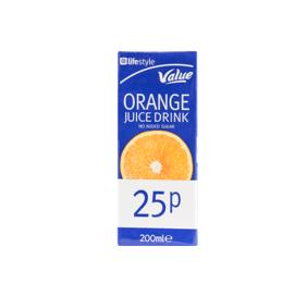 Lifestyle Value Orange Juice, 200ml, PM 25p