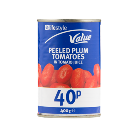 Lifestyle Value Peeled Plum Tomatoes, 400g, PM 45p