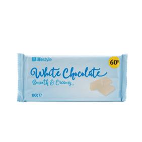 Lifestyle White Chocolate Block, 100g, PM 60p