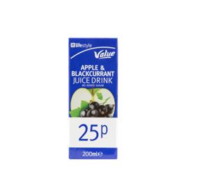 Lifestyle Value Apple & Blackcurrent Juice, 200ml, PM 25p