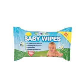Lifestyle Baby Wipes, 6 x 80 pack, PM £1