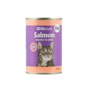 Lifestyl Cat Food SAlmon Chunks in jelly,  12 x 400g, PM 55p