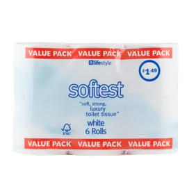 Lifestyle Softest Toilet Tissue, 6 x 6 pack, PM £1.49