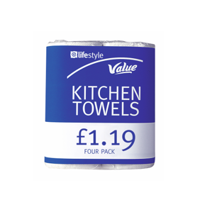 Lifestyle Value Kitchen Towels, 6 x 4 pack, PM £1.19