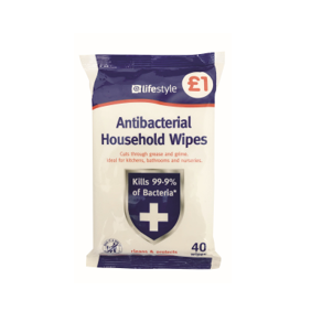 Lifestyle Value Anitibacterial Household Wipes, 6 x 40 pack, PM £1