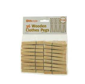 Lifestyle Wooden Clothes Pegs, 10 x 36 pack, PM £1.49